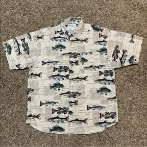 Vintage Columbia Button Up Shirt Mens Tan Fish